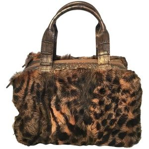 Nancy Gonzalez Leopard Print Fur and Crocodile Bag